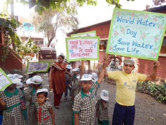 Children holding Banners